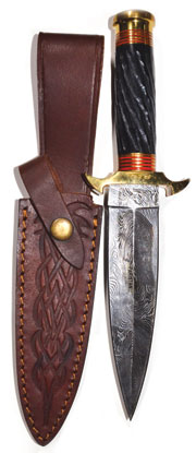 Twisted Horn Damascus Athame