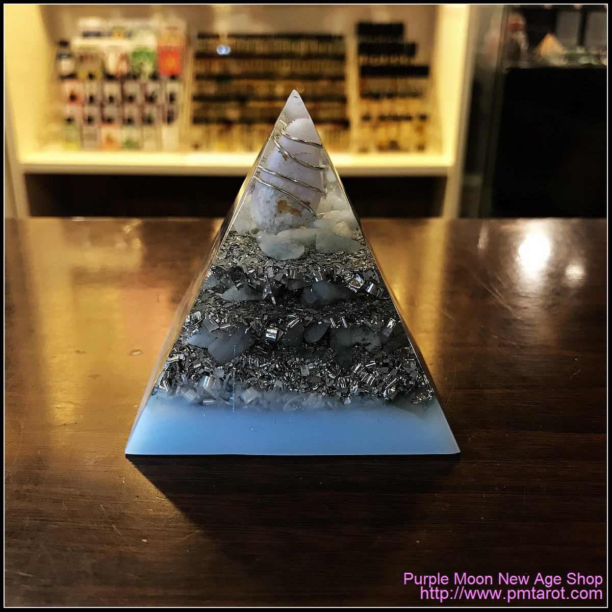 Avalon Magick x Oplusnet - Blue Lace Agate & Aquamarine High Quality Orgonite Pyramid