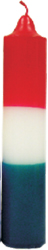 Triple Action Jumbo Pillar Candle Red / White / Green