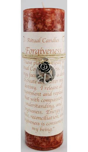 Forgiveness Pillar Candle with Ritual Necklace