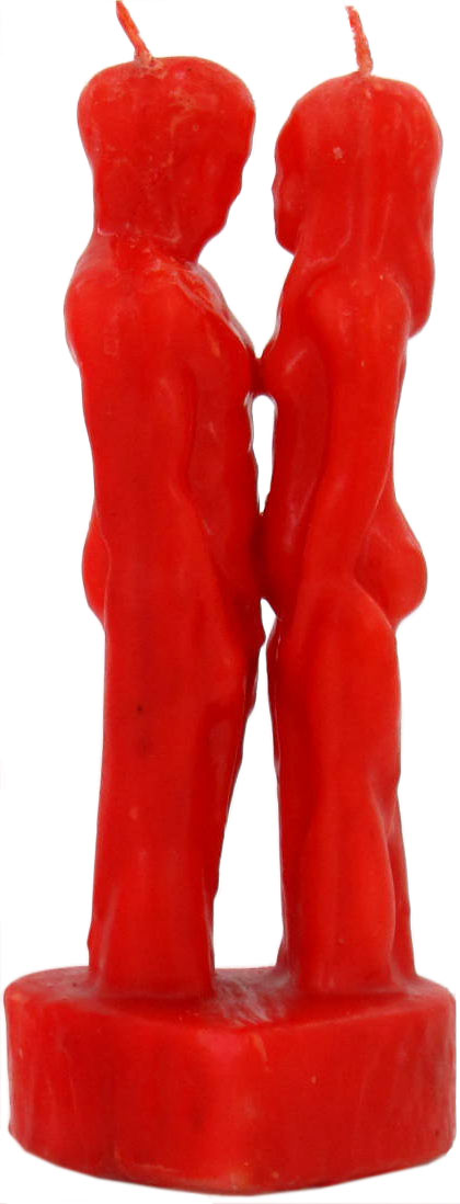 Man & Woman Lovers Image Candle - Red