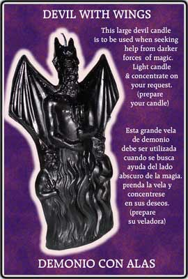 Devil With Wings Ritual Candle - Black
