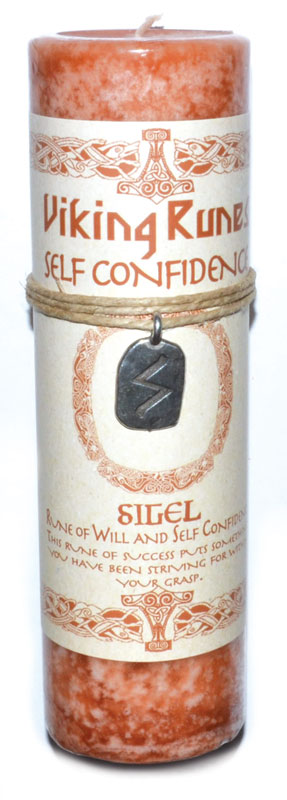 Self Confidence Pillar Candle w/ Sigel Rune Pendent
