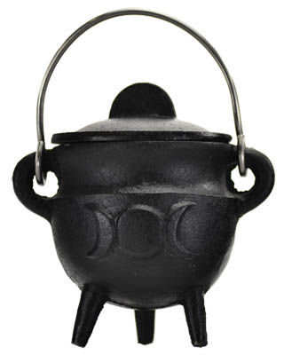 Triple Moon Cast Iron Cauldron w/Lid