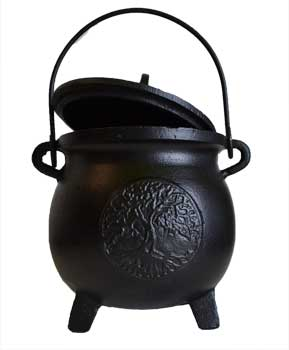 Tree of Life Cast Iron Cauldron w/Lid