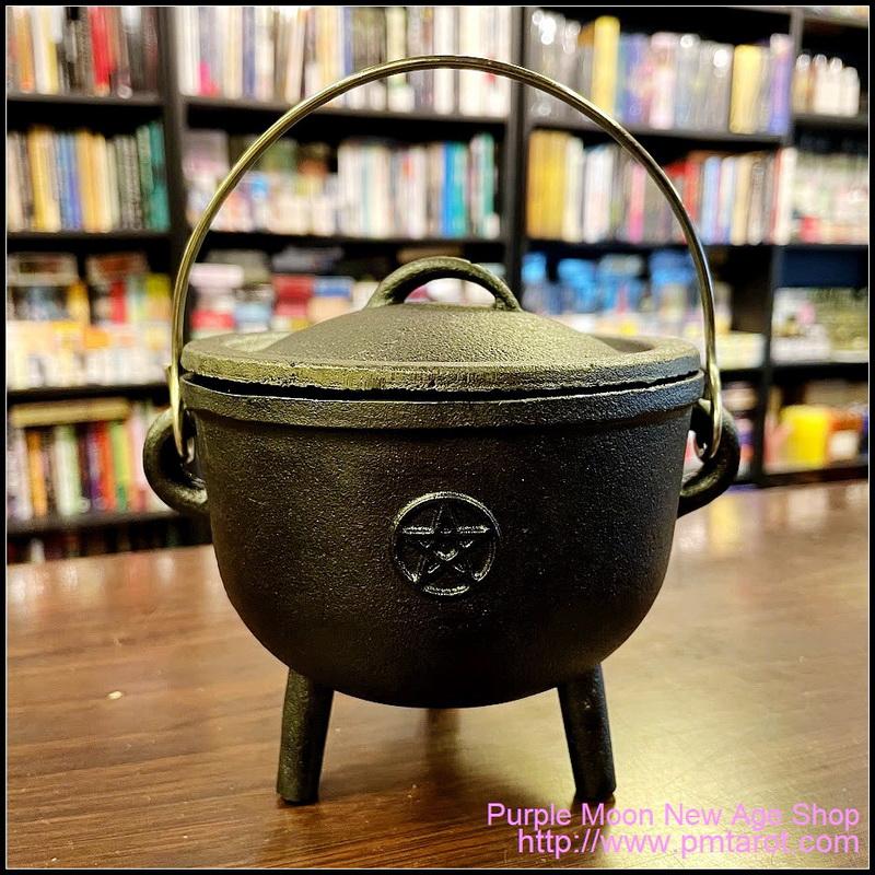 Pentagram Cast Iron Cauldron w/Lid
