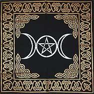 Triple Moon Pentagram Altar Cloth (24x24)