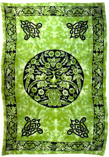 Green and Black Green Man  Tapestry (72x108)