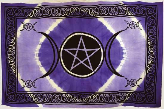 Purple Triple Moon Pentagram Tapestry (72x108)