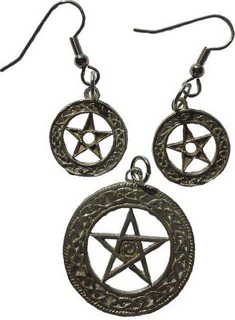 Spiral Pentagram Pendant & Earrings Set