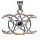 Triple Moon Pentagram Pendant