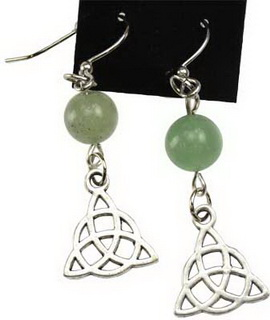 Green Aventurine Triquetra Earrings