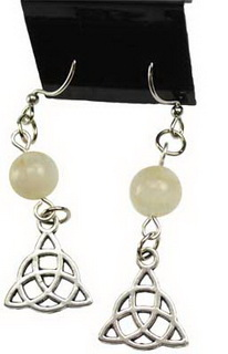 Moonstone Triquetra Earrings