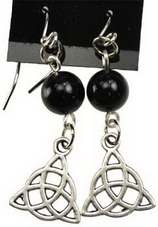 Black Onyx Triquetra Earrings