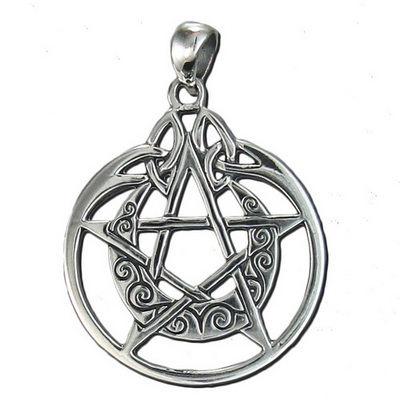 Sterling Silver Crescent Moon Pentacle Circle Pendant