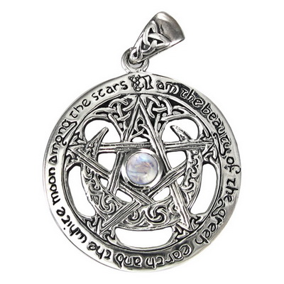 Sterling Silver Extra Large Cut Out Moon Pentacle Pendant with Rainbow Moonstone