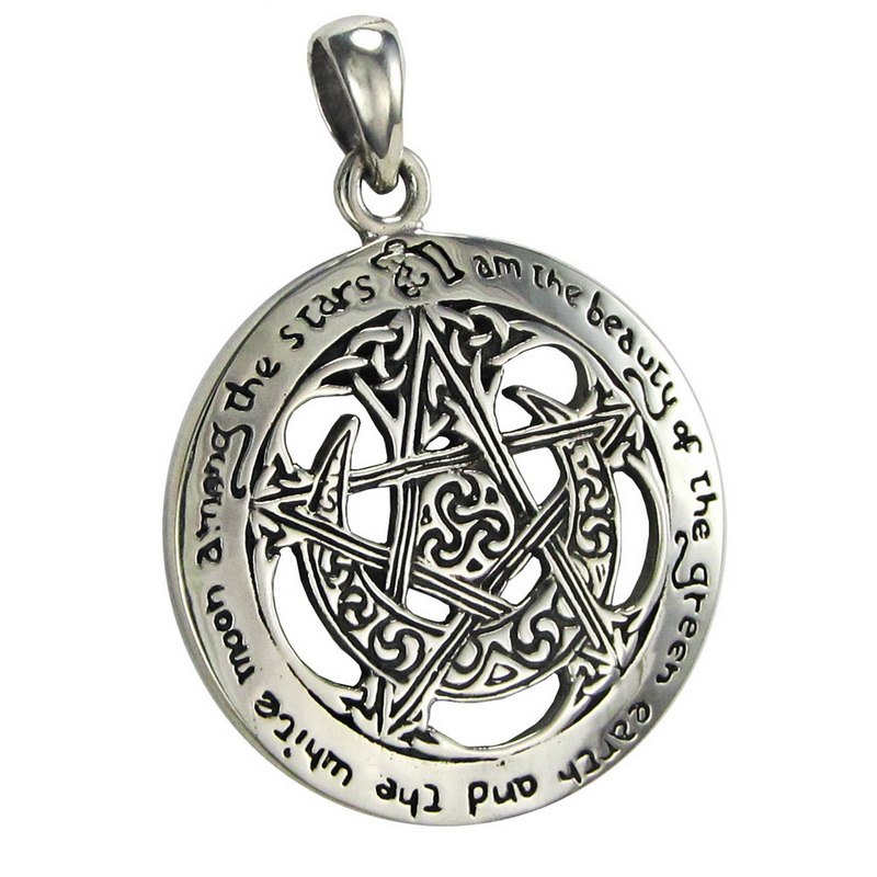 Sterling Silver Large Cut Out Moon Pentacle Pendant