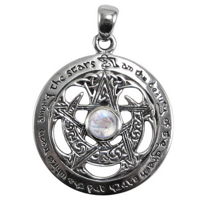 Sterling Silver Large Cut Out Moon Pentacle Pendant with Rainbow Moonstone