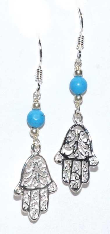 Fatima Hand Turquoise Earrings