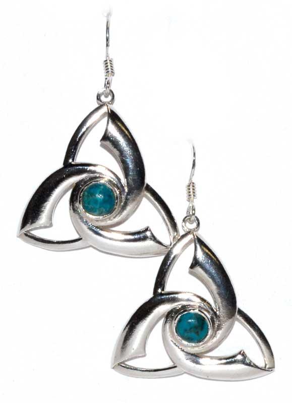 Triquetra Chrysocolla Earrings