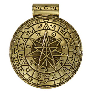 Bronze Magic Circle Alchemical Pentacle Pendant