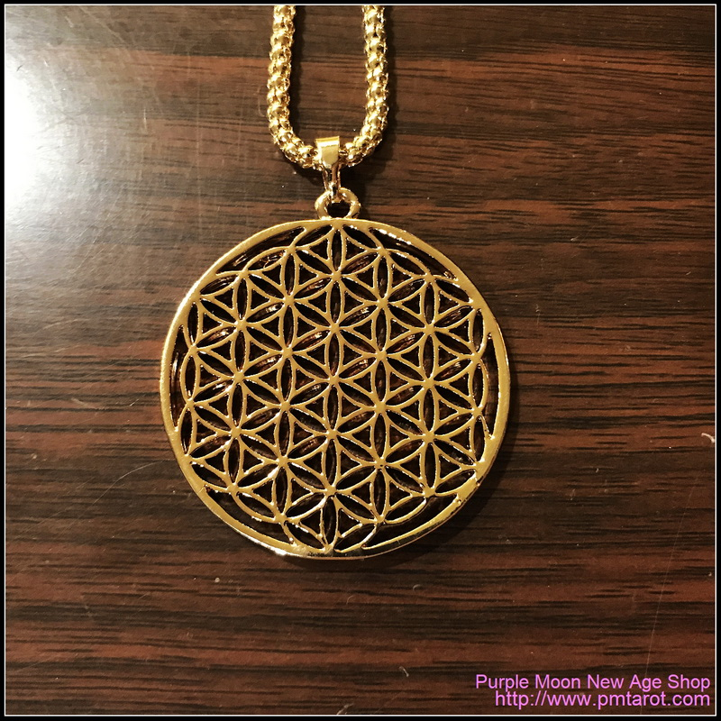 Flower Of Life Pendants Round Gold Plated Hollow Carved