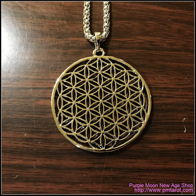 Flower Of Life Pendants Round Silver Plated Hollow Carved