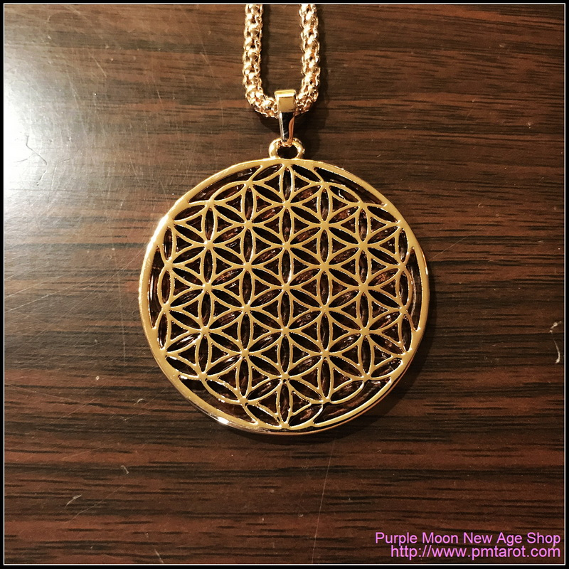 Flower Of Life Pendants Round Rose Gold Plated Hollow Carved