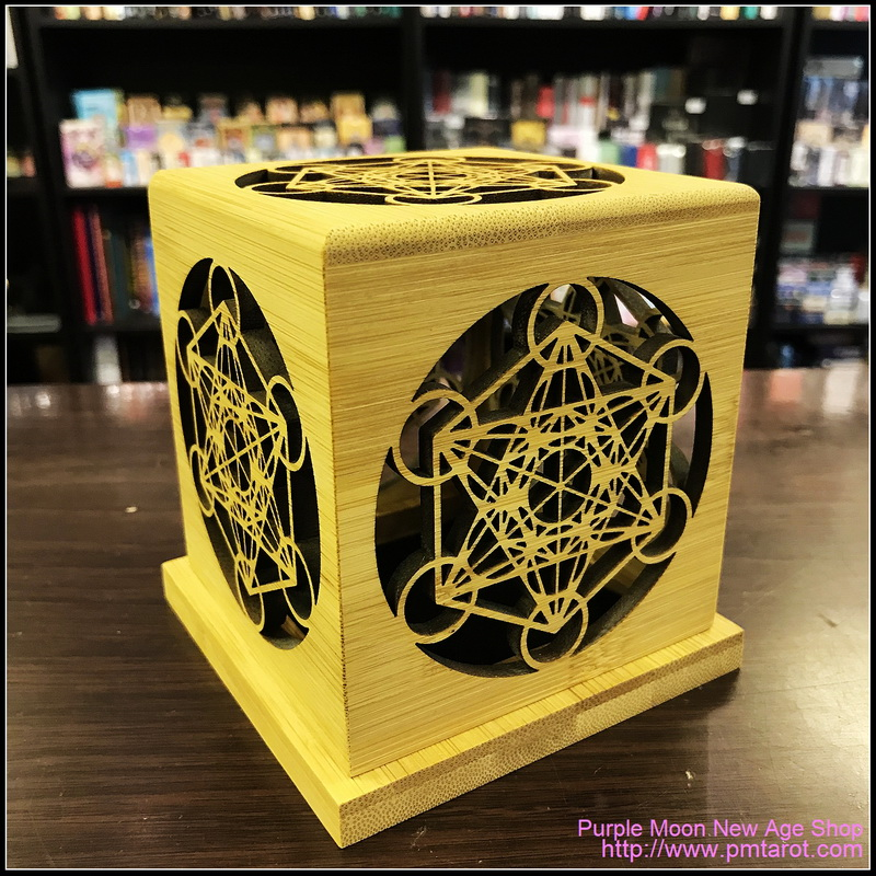Bamboo Made Meditative Incense Box with Archangel Metatron's Cube