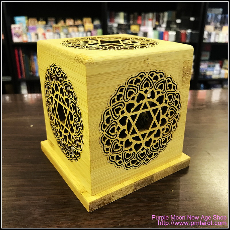 Bamboo Made Meditative Incense Box with Hexagram and Lotus