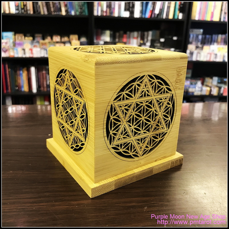 Bamboo Made Meditative Incense Box with Hexagram and Flower of Life
