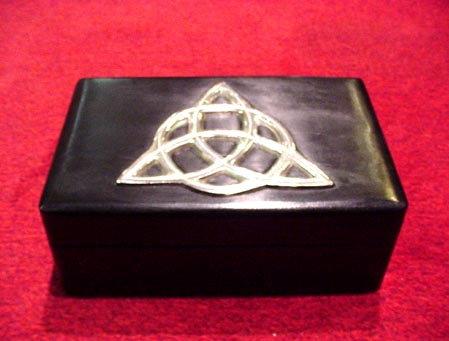 Ebony Metal Inlay Triquetra Wooden Box