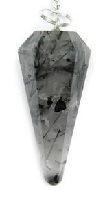 Black Tourmalinated Quartz Pendulum
