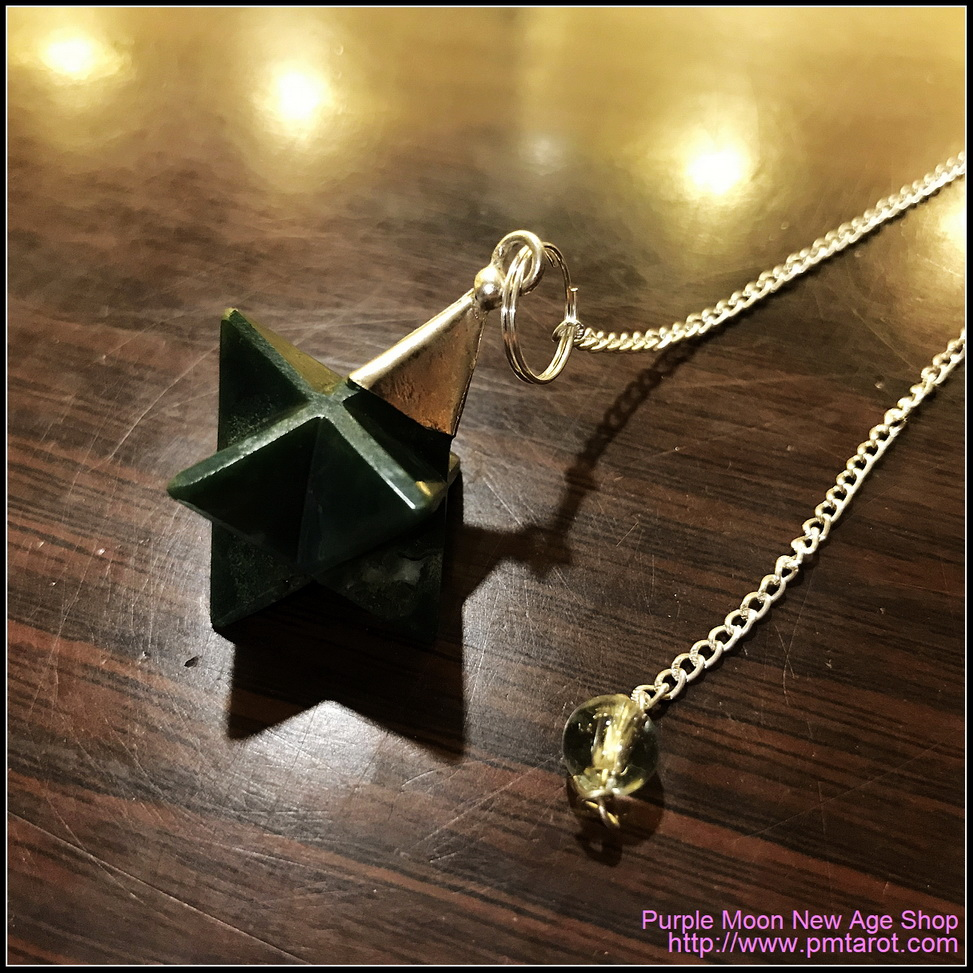 Bloodstone Merkaba Flower Pendulum