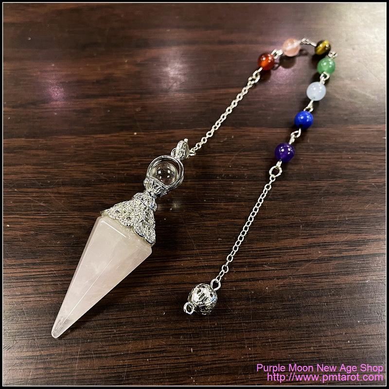 Chakra Rose Quartz Pendulum