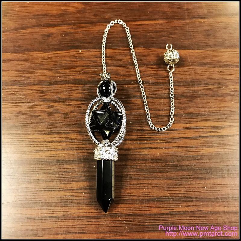Spinning Merkaba Black Obsidian Pendulum