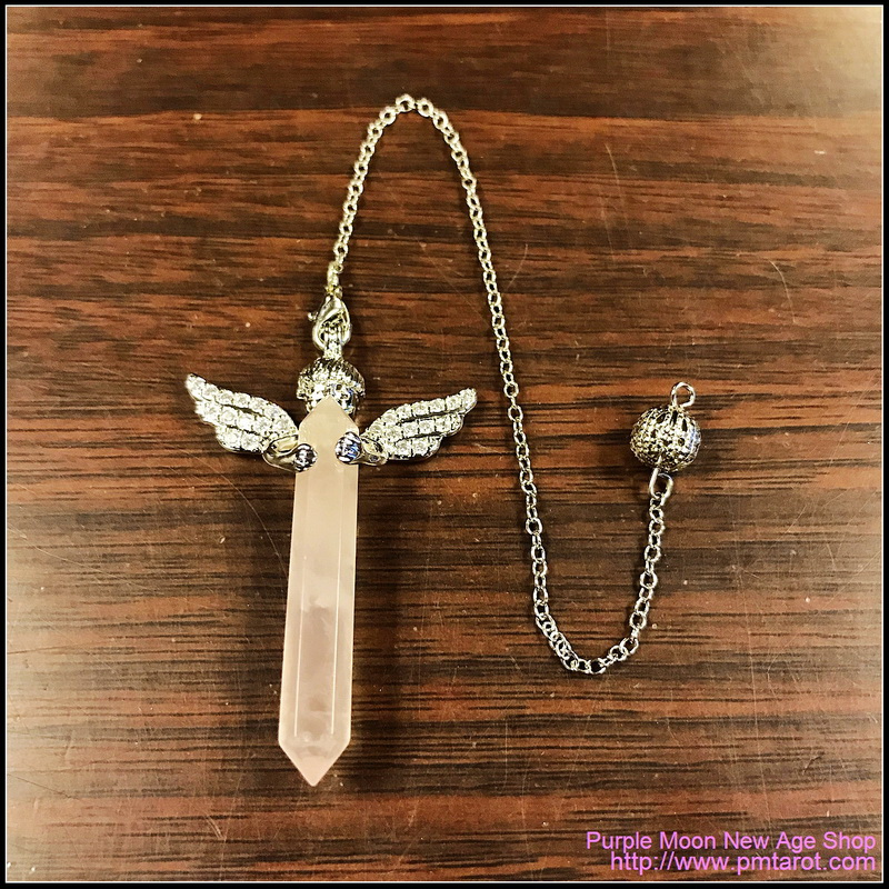 Cupid Angel Wings Rose Quartz Pendulum