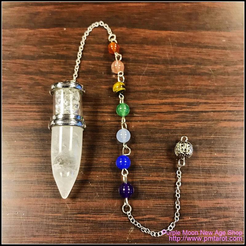 Chakra Clear Quartz Bullet Pendulum