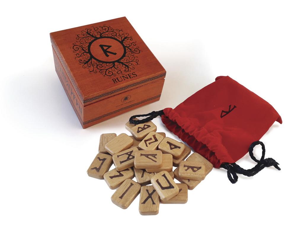 木制盧恩文占卜石連木盒