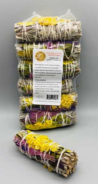 White Sage w/Calendula flower Smudge Stick 6-Pack