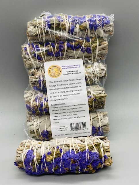 White Sage W/ Purple Sinuata flower 6-Pack