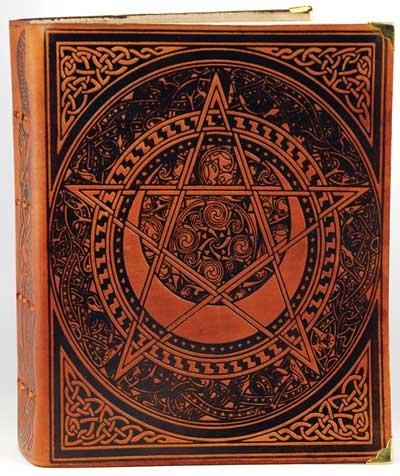 Celtic Spiral Pentagram Leather Blank Book Honey Mead Brown
