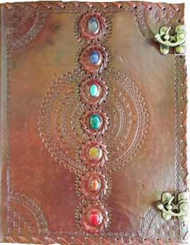 Chakra leather blank book w/ latch