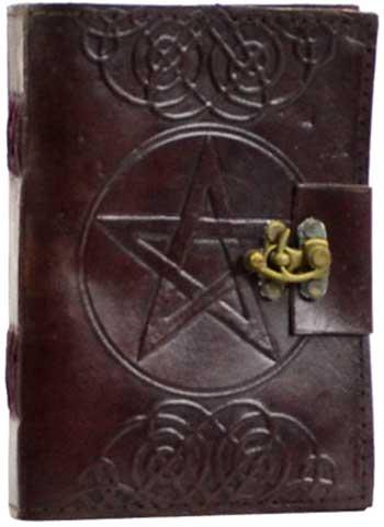 Pentagram leather blank book w/ latch